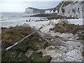 TR3744 : Fallen fence at St Margaret's Bay by Marathon