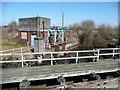 SJ7496 : Tankhouse and jetty, Barton Locks by Christine Johnstone