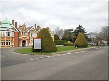 SP8633 : Trees in front of the Mansion House at Bletchley Park by Paul Gillett