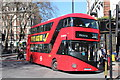 TQ2879 : New Bus For London at Buckingham Palace Road by Oast House Archive