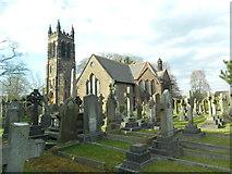 SJ4586 : St Nicholas's Church and churchyard, Halewood by John Lord