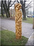 NZ0516 : Another wood carving in Bowes' Museum garden by Stanley Howe