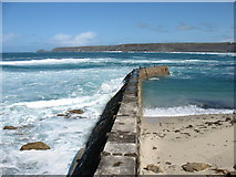 SW3526 : The breakwater at Sennen Cove by David Purchase