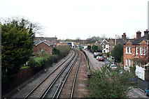 TQ2075 : Mortlake: View west from footbridge by Dr Neil Clifton