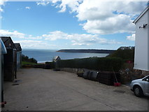 SS5288 : View to Oxwich Bay from Nicholaston Camping & Caravan Farm, Gower by Jeremy Bolwell