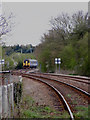 TM3976 : Train approaching footpath crossing by Geographer