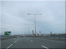 NZ4719 : The A19 northbound crossing the River Tees by peter robinson