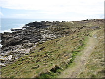 SV8907 : The coastal path on Gugh, looking towards Hoe Point by David Purchase