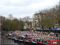 TQ2681 : View of narrowboats moored up at Little Venice for the Canal Cavalcade #4 by Robert Lamb