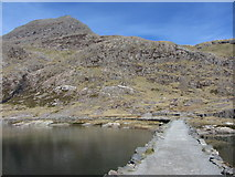 SH6354 : Causeway across Llyn Llydaw, and Crib Goch by Gareth James