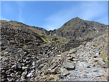 SH6254 : The Miners' Track, ruined mine buildings and Snowdon by Gareth James