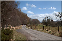 NH5292 : Minor road with passing places in Strathcarron by Trevor Littlewood