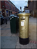 SK3587 : Sheffield: gold postbox in Division Street by Chris Downer