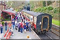 SD3484 : Passengers at Haverthwaite Station by Mike Smith