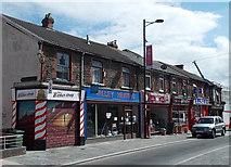 ST1599 : Row of shops, Hanbury Road, Bargoed by Jaggery