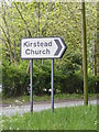 TM2897 : Kirstead Church sign by Adrian Cable