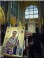 ST6316 : Sherborne: a portrait of St. Aldhelm by Chris Downer