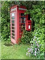 SK1065 : Telephone box and postbox, Crowdicote by Andrew Hill