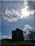 SK1482 : Castleton: sun and vapour trails above Peveril Castle by Chris Downer