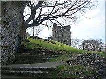 SK1482 : Castleton: Peveril Castle keep from the castle entrance by Chris Downer