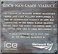 NM7284 : Plaque on the Loch nan Uamh Viaduct by M J Richardson