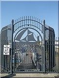 TQ7769 : Gate to Gillingham Pier by David Anstiss