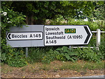 TM4381 : Roadsigns on the A145 London Road by Adrian Cable