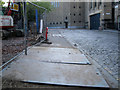 NT2573 : Three 16mm steel plates, South College Street by Robin Stott