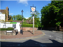TQ6159 : The village sign at Wrotham by Marathon