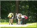 TQ5134 : Ramblers on the High Weald Landscape Trail in Jockey's Wood by David Anstiss