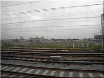 TQ3783 : View North from a train to London Liverpool Street in the vicinity of the Olympic Park by Steve  Fareham
