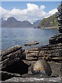 NG5113 : Rocky shoreline near Elgol by Andrew Hill