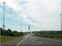 O0575 : Power-lines crossing the M1 just north of the Mary McAleese Boyne Valley Bridge. by Eric Jones