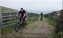SD9810 : Cyclists on the Pennine Bridleway by michael ely