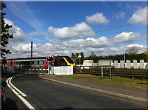NT1067 : Train crossing at Kirknewton station by Darrin Antrobus