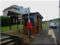 NT9560 : Bus shelter, post box and notice board, Upper Burnmouth by Graham Robson