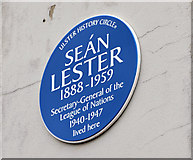 J3472 : Sean Lester plaque, Belfast by Albert Bridge