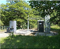 SO1506 : Equipment at the base of a telecoms mast near Bedwellty Pits by Jaggery