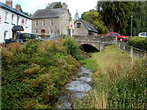 SO1327 : Stream, bridge and pub, Llangors by Jaggery