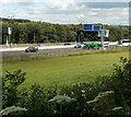 ST2988 : M4 motorway viewed from a canal path, Newport by Jaggery