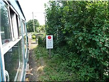 TR2648 : Stop sign, East Kent Railway by Christine Johnstone