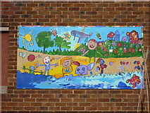 NT6578 : East Lothian Townscape : External Mural at West Barns Primary School by Richard West