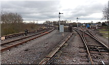 SO6302 : Railway lines approach Lydney Junction station by Jaggery