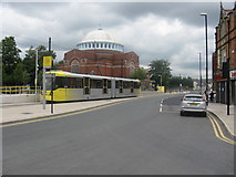 SD8912 : Rochdale station tram stop by Peter Whatley