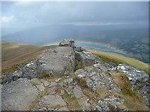 SO2718 : Low rainbow below the Sugar Loaf / Mynydd Pen-y-fâl by Jeremy Bolwell
