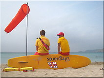 SW3526 : Lifeguards on duty at Sennen Cove beach by Rod Allday