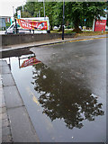 TQ2996 : Reflection in Puddle by Oakwood Shops, Bramley Road, London N14 by Christine Matthews