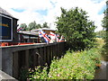 J4669 : The flag bedecked beer garden at the First and Last PH, Comber by Eric Jones