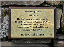NT7233 : A plaque on the Bicentenary Cairn at Springwood Park, Kelso by Walter Baxter