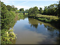 SE7667 : River Derwent from the footbridge by Pauline E
